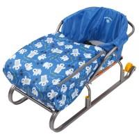 Сиденье для санок НИКА с чехлом для ног Мишки синий СС3